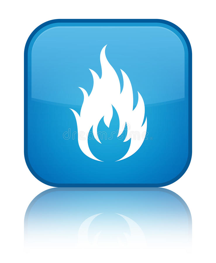 Fire icon special cyan blue square button royalty free illustration