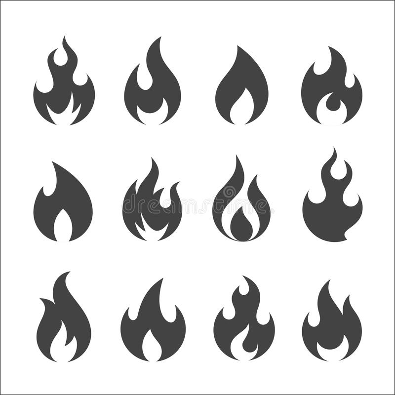 Fire icon vector set stock illustration