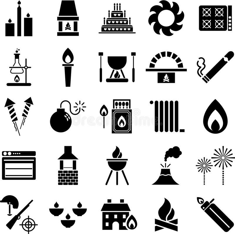 Download Fire icons stock vector. Image of matches, cigarette - 28568004
