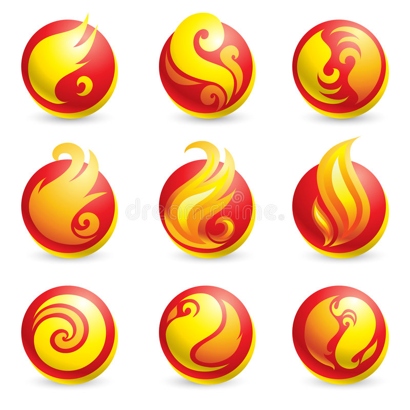 Fire Icons Royalty Free Stock Photography