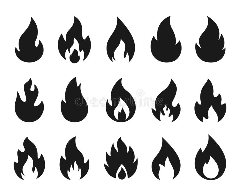 Fire icons. Burning flame silhouette logos, simple fire symbols for hot sauce and kitchen grill. Vector fire energy stock illustration