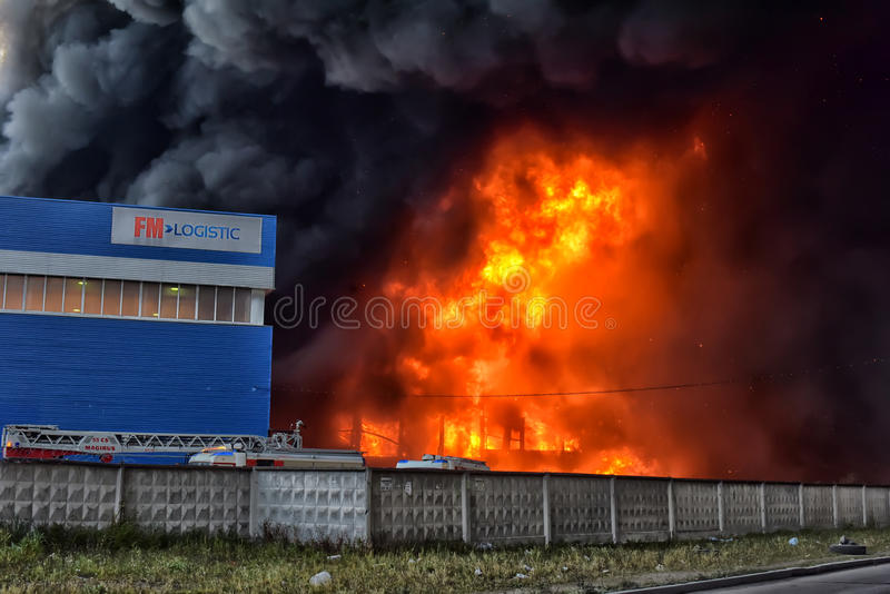 Fire at the industrial zone. Russia stock image