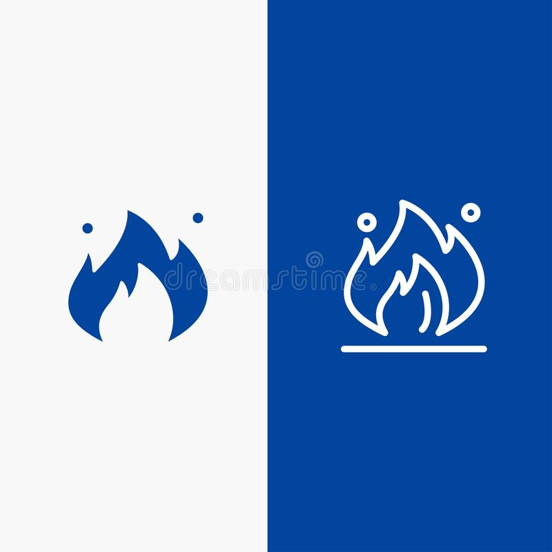 Fire, Industry, Oil, Construction Line and Glyph Solid icon Blue banner Line and Glyph Solid icon Blue banner royalty free illustration