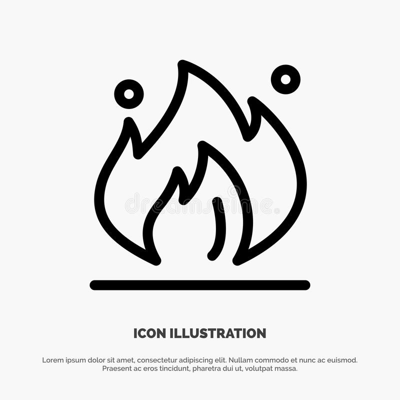 Fire, Industry, Oil, Construction Line Icon Vector stock illustration