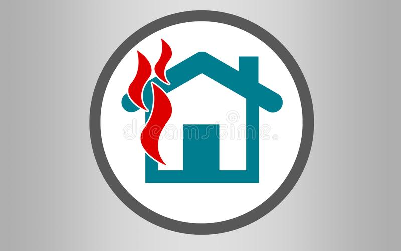 Fire insurance icon with burning house stock photos