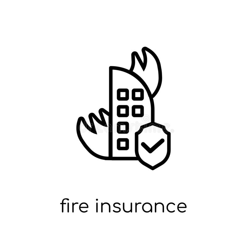 Fire insurance icon. Trendy modern flat linear vector Fire insurance icon on white background from thin line Insurance collection. Editable outline stroke stock illustration