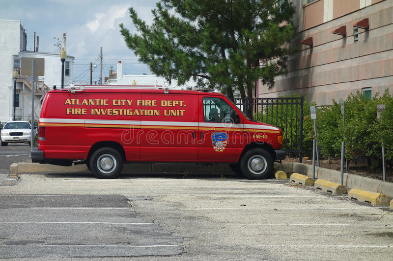 Fire Investigation Unit. A red truck belonging to the Atlantic City Fire Department Fire Investigation Unit stock photos