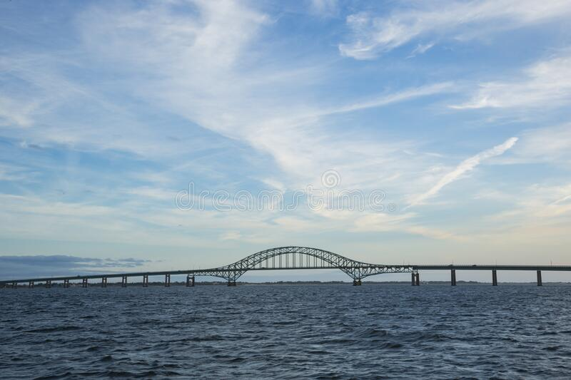 Fire Island Inlet Bridge under Windy Sky stock image