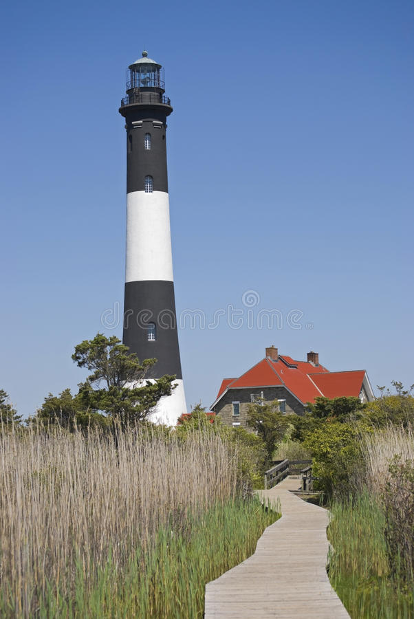 Fire Island Lighthouse Vertical. The Fire Island Lighthouse as seen from the nature boardwalk in Fire Island National Seashore State Park in Long Island royalty free stock photography
