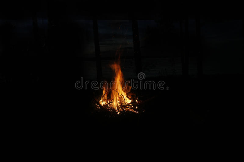 Fire isolated on black. royalty free stock photo