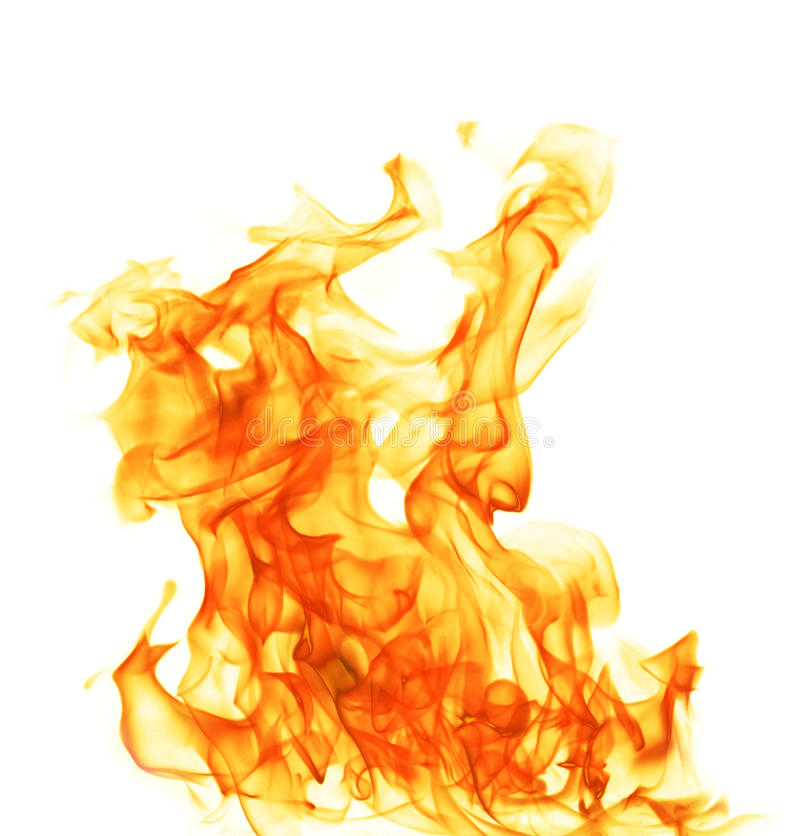 Fire isolated on white background stock photography