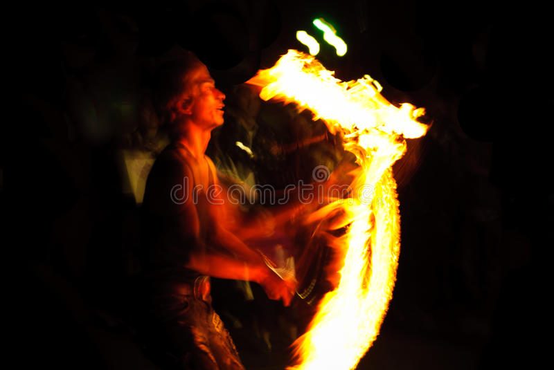 Fire Juggler at the part stock image