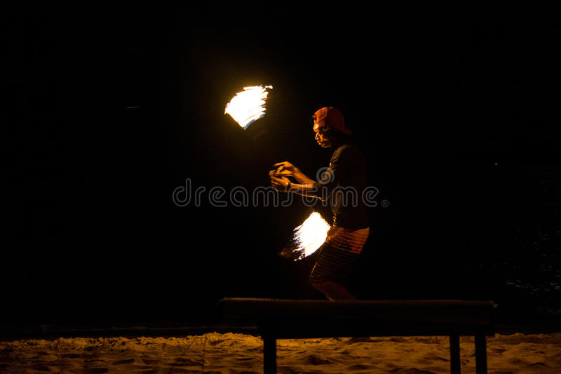 Fire juggler. Performing fire show. Picture taken on Perhentian Kecil island, Malaysia royalty free stock photos