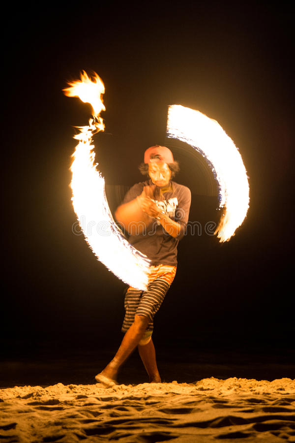 Fire juggler. Performing fire show. Picture taken on Perhentian Kecil island, Malaysia royalty free stock photography