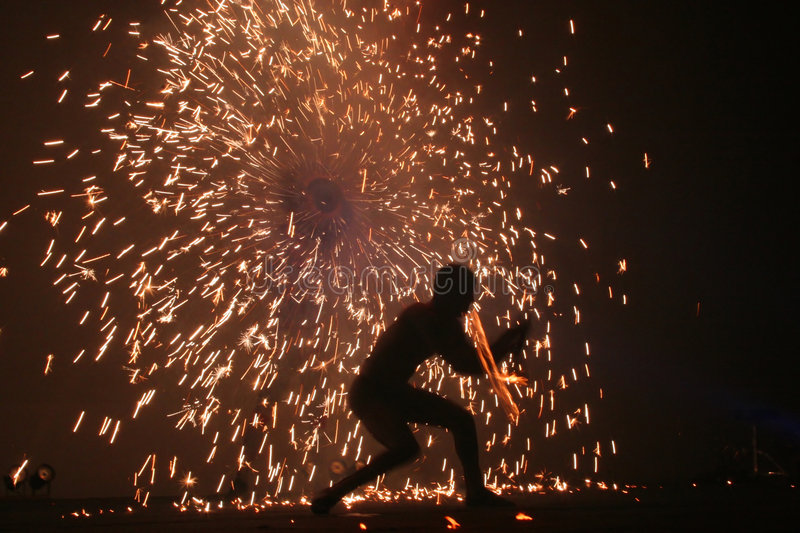 Fire Jugglers #2. A fire jugling and pyrotechnics performance royalty free stock photography
