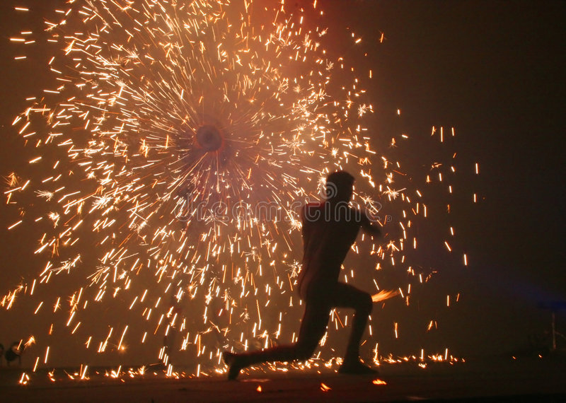Fire Jugglers #3. A fire jugling and pyrotechnics performance royalty free stock photos