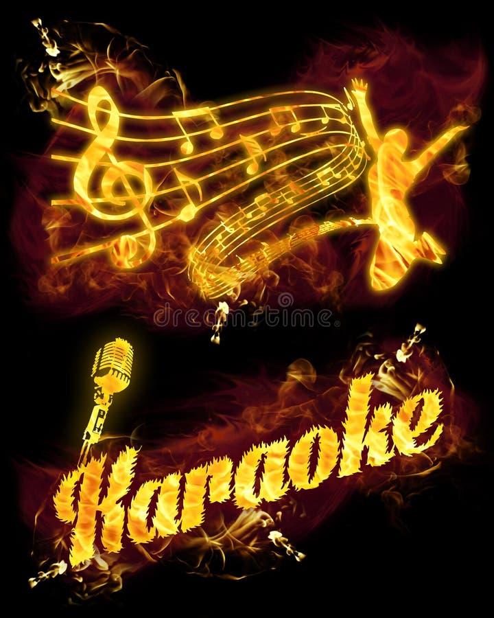 Fire Karaoke Set vector illustration