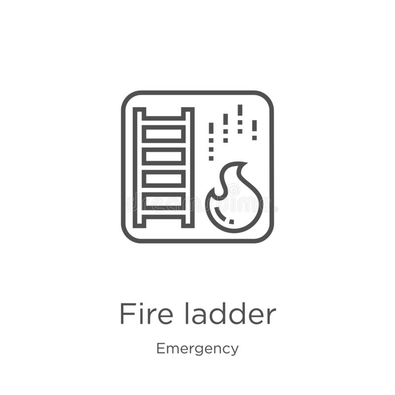 Fire ladder icon vector from emergency collection. Thin line fire ladder outline icon vector illustration. Outline, thin line fire. Fire ladder icon. Element of royalty free illustration