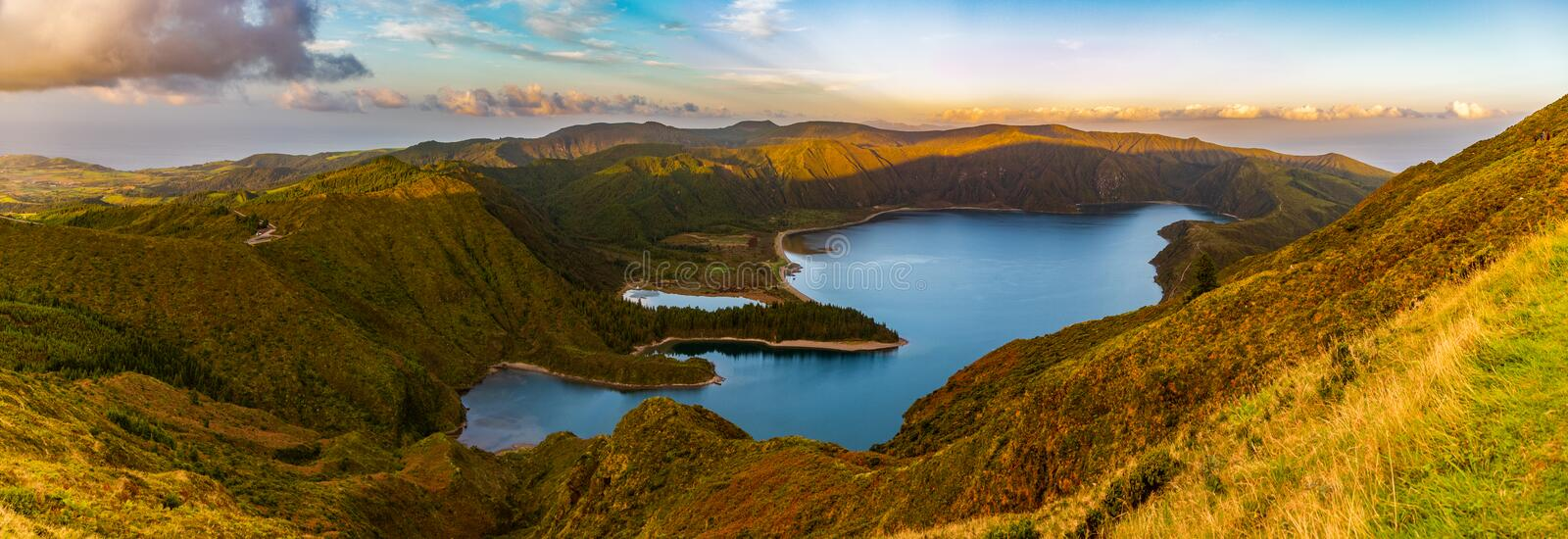 Fire Lake I. A panorama picture of the Fire Lake Lagoa do Fogo royalty free stock images