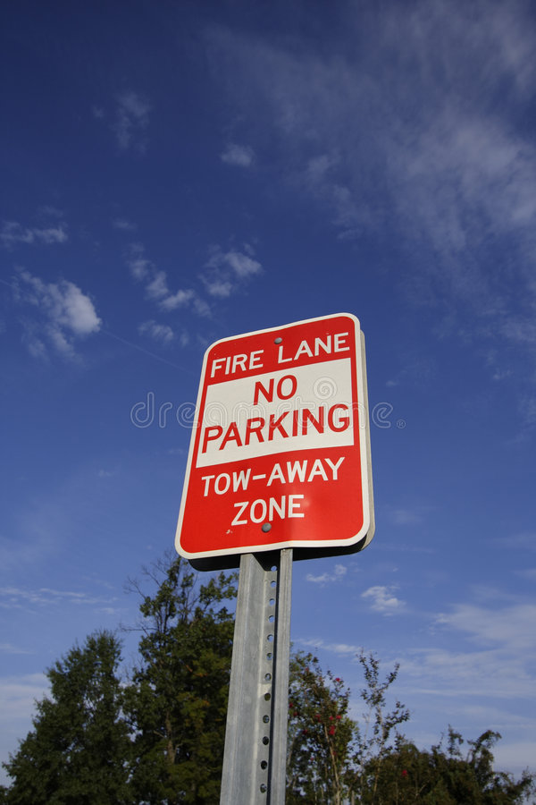 Fire Lane Sign. Picture of a no parking fire lane sign stock photo