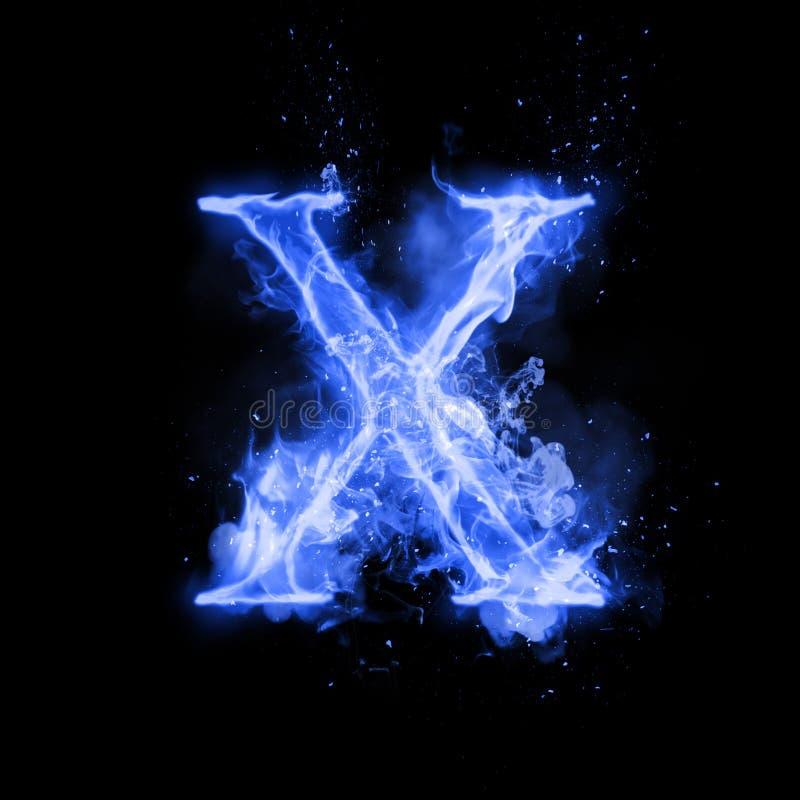 Fire letter X of burning flame light stock illustration
