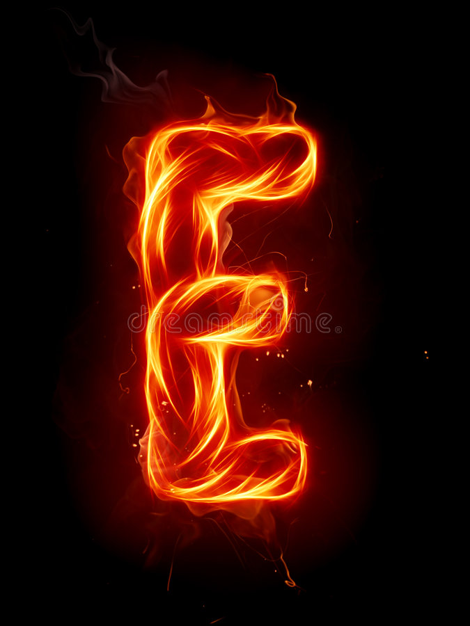 letter e on fire image collections