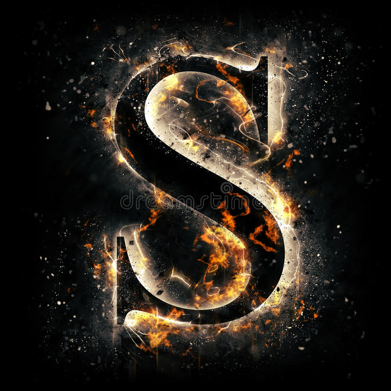 Fire letter S stock illustration. Illustration of fiery - 50682161