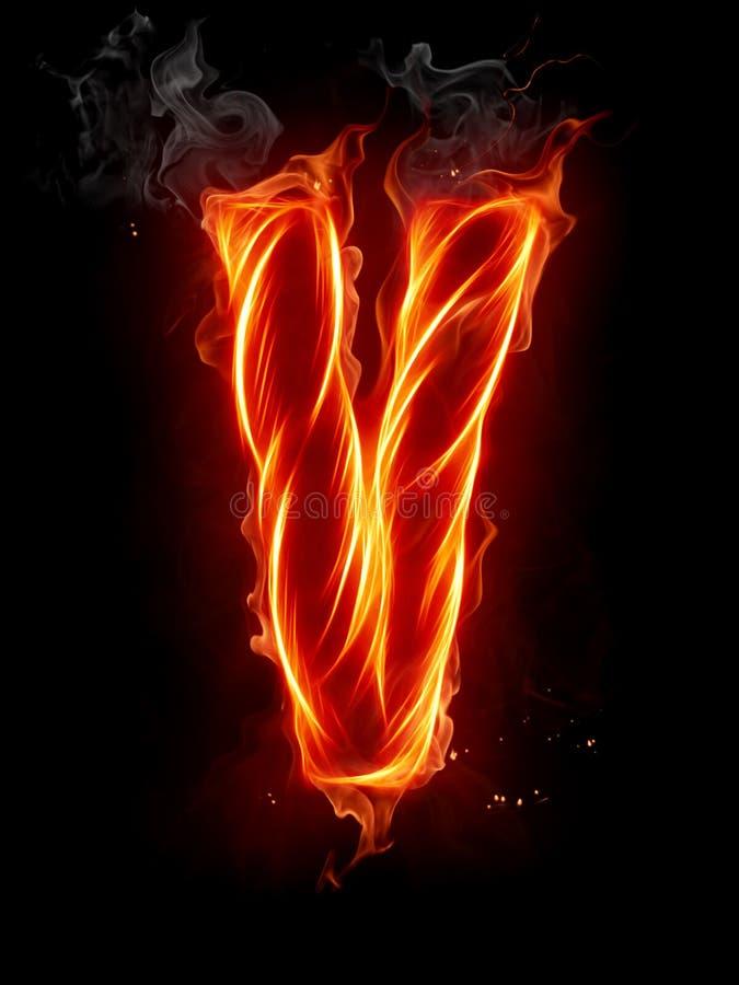 Fire Letter V Royalty Free Stock Images - Image: 7197709