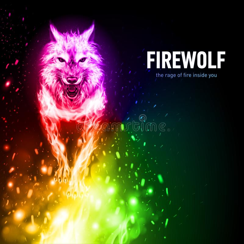 Fire_lion_aggressive_fiery_snout_in_the_wind ilustracja wektor