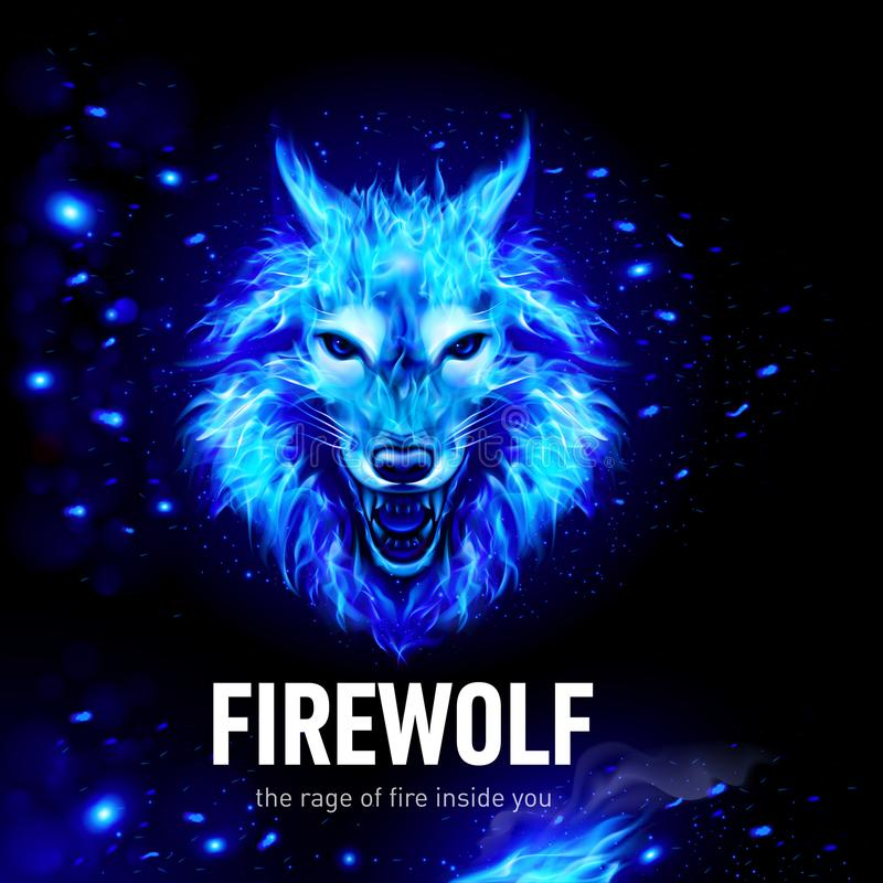 Fire_lion_aggressive_fiery_snout_in_the_wind royalty ilustracja
