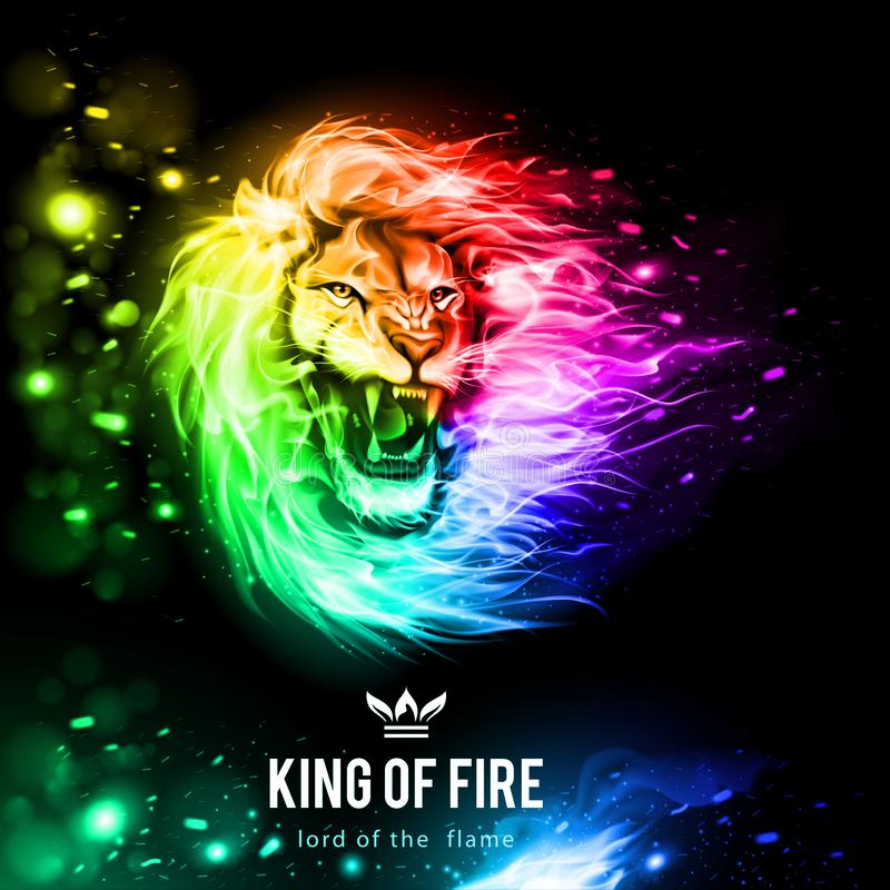 Fire_lion_aggressive_fiery_snout_in_the_wind royalty-vrije illustratie