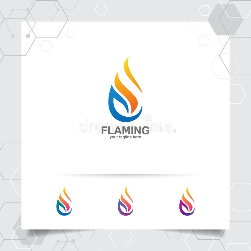 Fire logo design vector with concept of fire blazing . Oil gas logo for mining industry and fuel processing. Oil gas logo design vector with concept of fire stock illustration