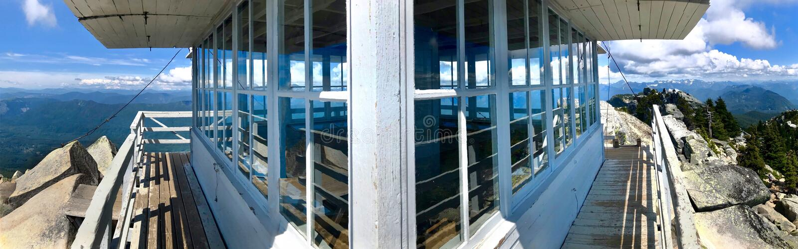Fire lookout hut on Mount Pilchuck. Former fire lookout on mountain top near Seattle and Everett with expansive view. Washington. United States of America royalty free stock photography