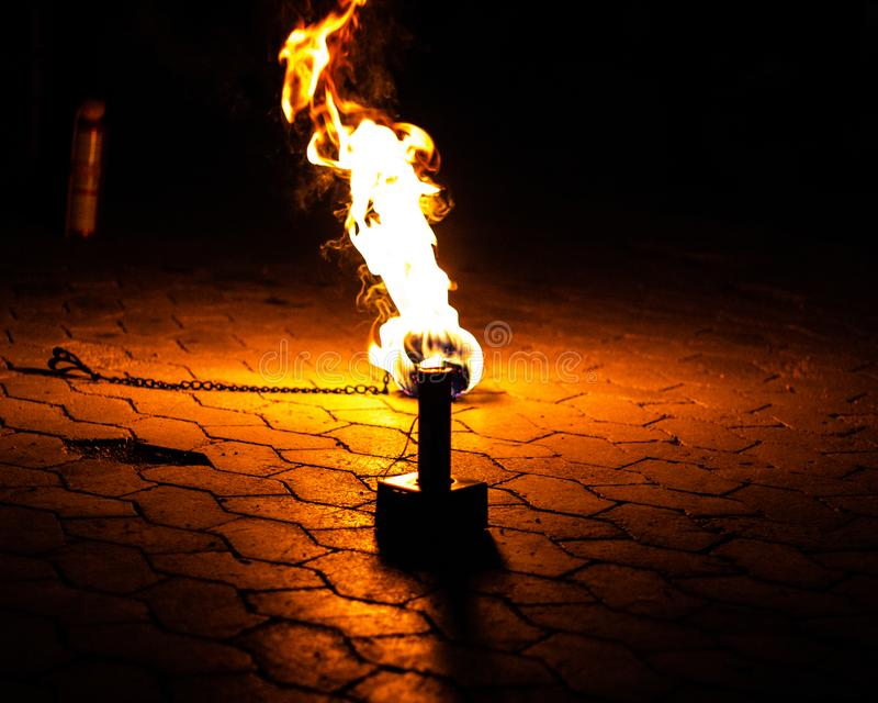 Fire lying on the ground royalty free stock photography