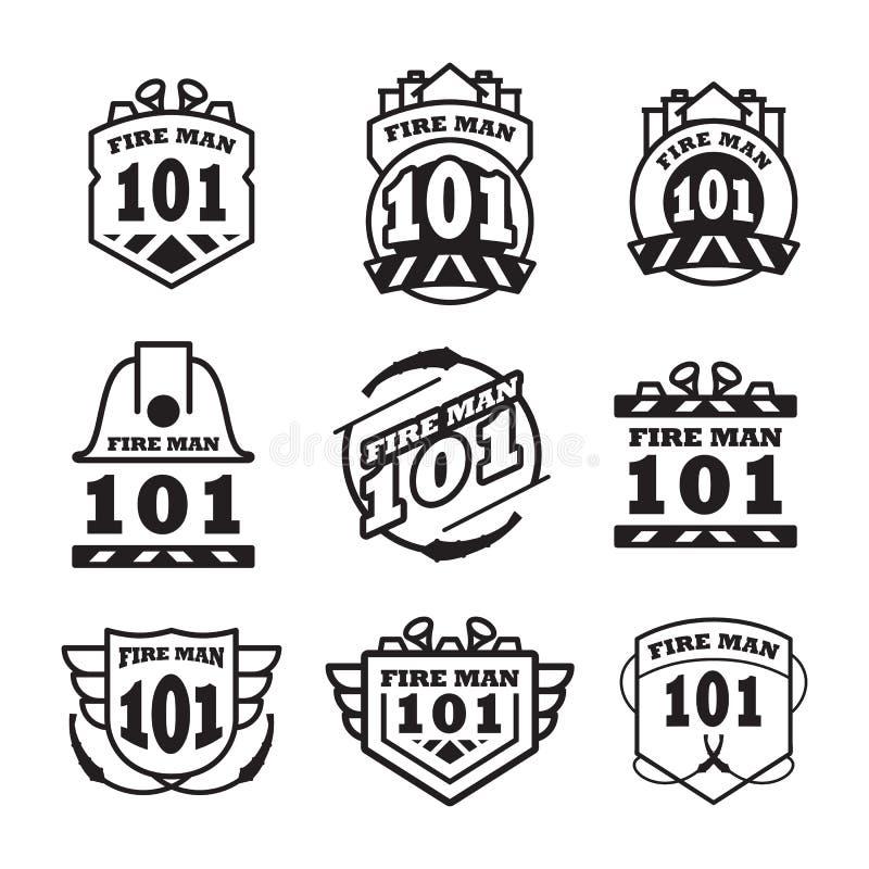 Fire man emblem vintage logo vector design. Business logo monochrome isolated on white background stock illustration