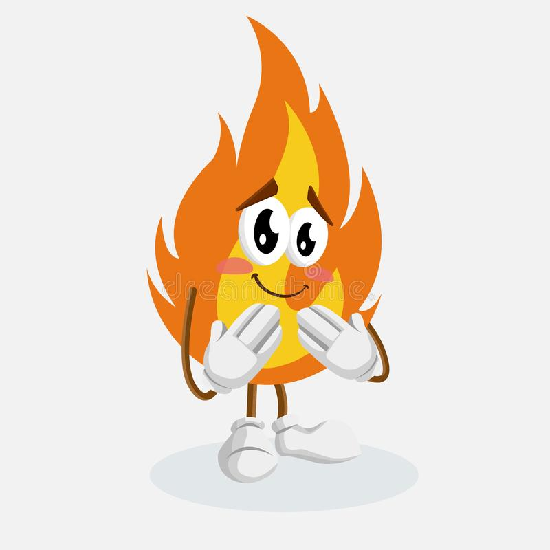 Fire mascot and background ashamed pose. With flat design style for your mascot branding stock illustration