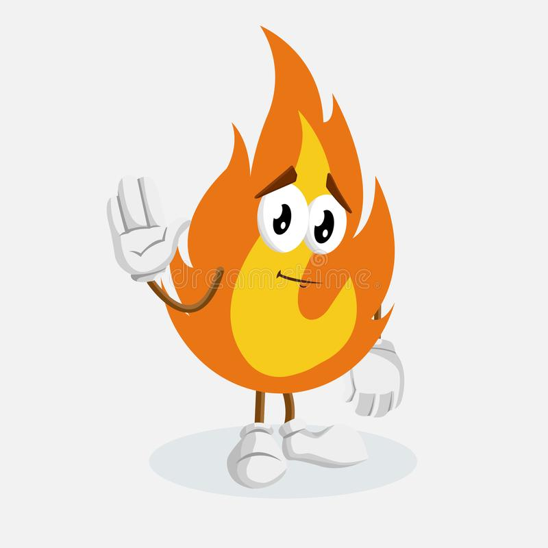 Fire mascot and background goodbye pose. With flat design style for your mascot branding stock illustration