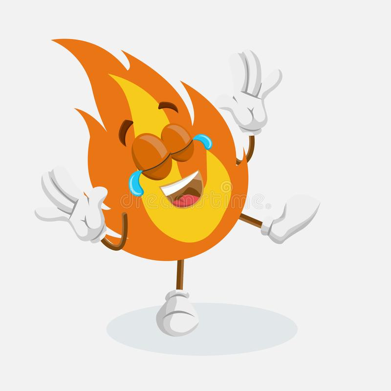 Fire mascot and background happy pose. With flat design style for your mascot branding vector illustration