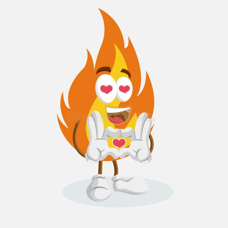 Fire mascot and background in love pose. With flat design style for your mascot branding vector illustration
