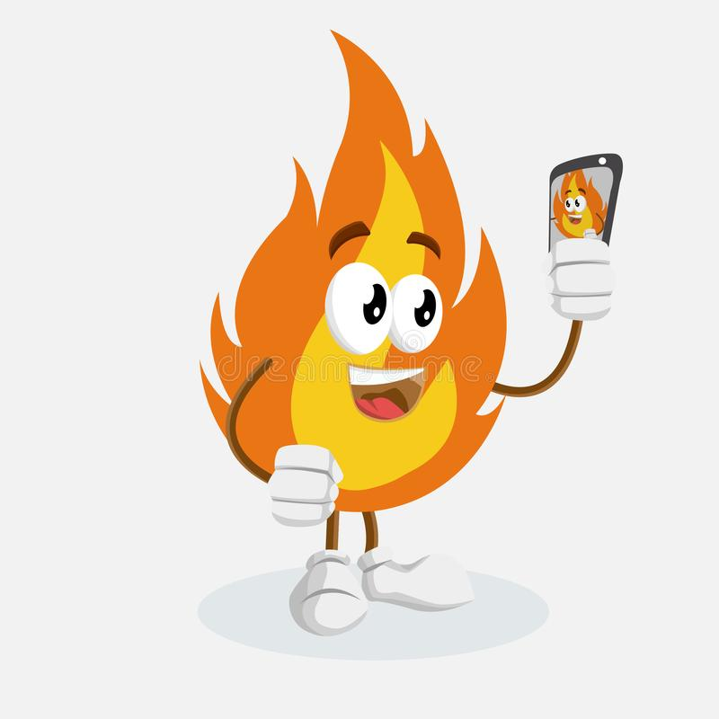 Fire mascot and background with selfie pose. With flat design style for your mascot branding stock illustration