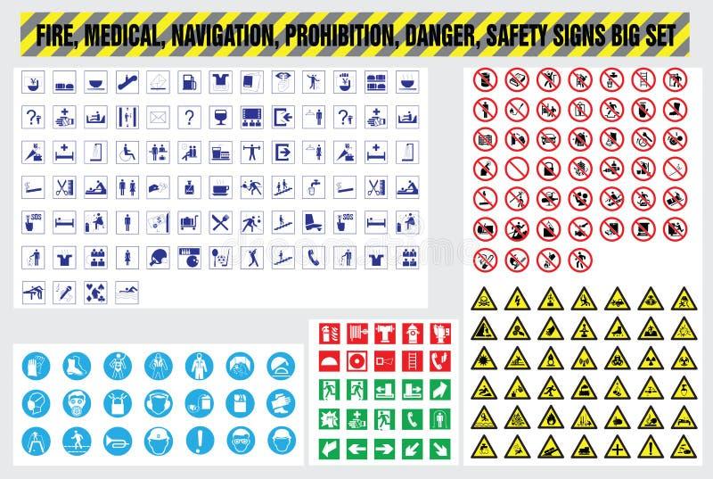 Fire medical navigation prohibition danger safety signs set. Fire medical navigation prohibition danger safety icons set royalty free illustration
