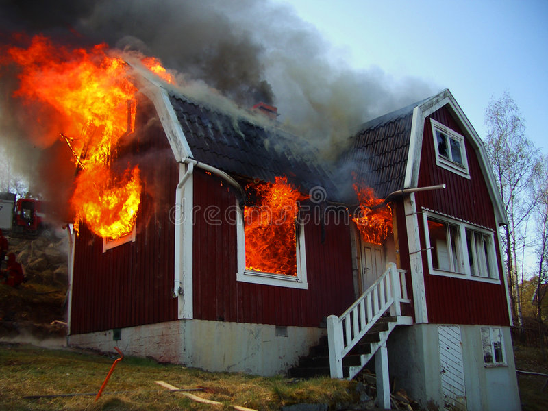 Download Fire Men In Action, House Burning Stock Image - Image: 7902257