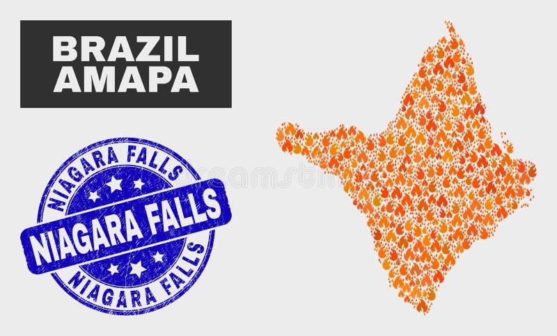 Fire Mosaic Amapa State Map and Grunge Niagara Falls Seal. Vector collage of flame Amapa state map and blue round scratched Niagara Falls seal stamp. Fiery Amapa vector illustration