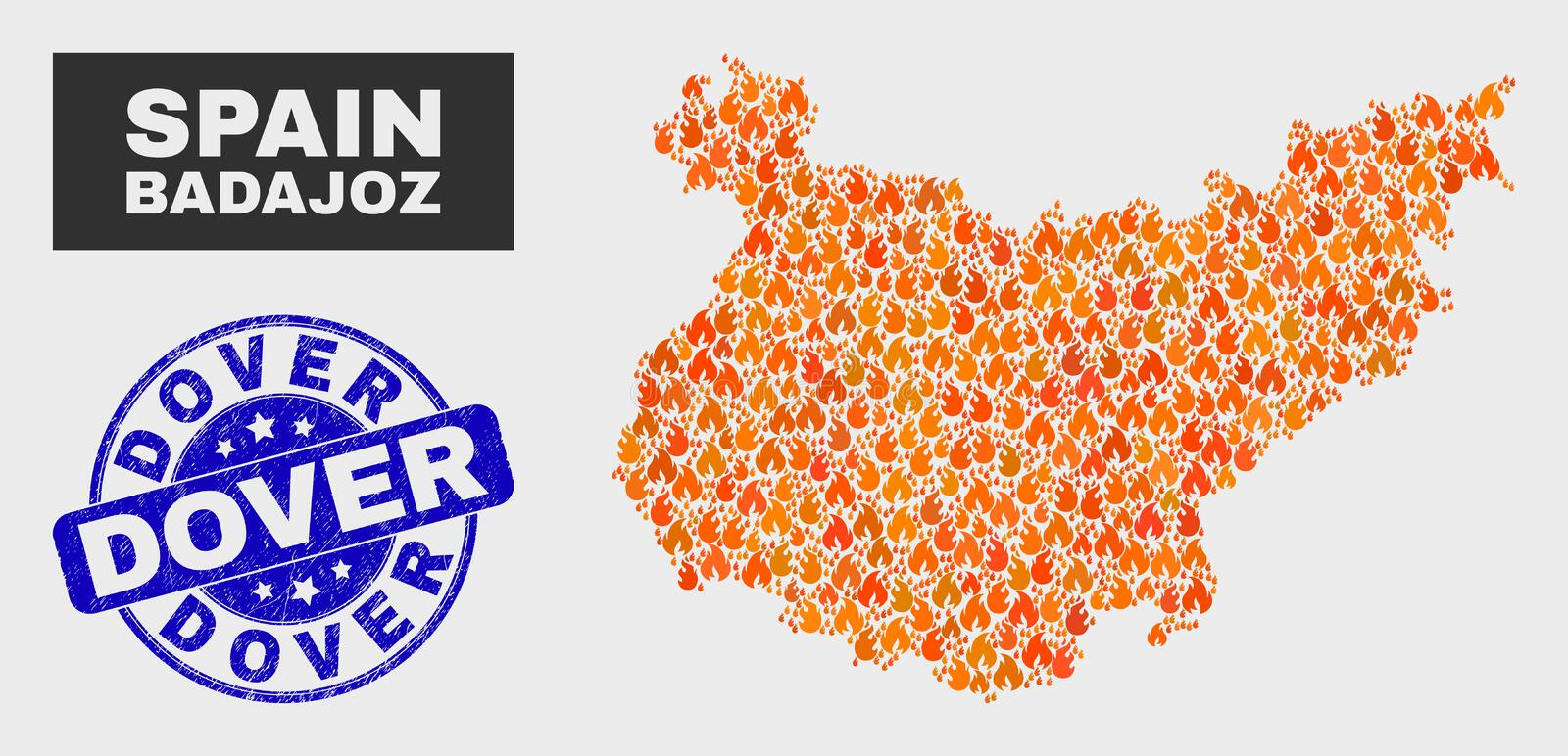 Fire Mosaic Badajoz Province Map and Grunge Dover Seal vector illustration