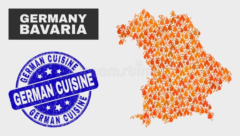 Fire Mosaic Bavaria Land Map and Distress German Cuisine Watermark stock illustration