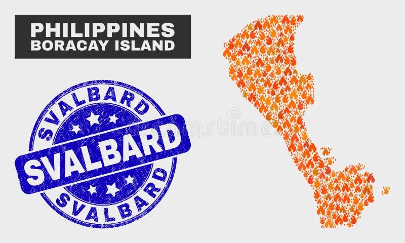 Fire Mosaic Boracay Island Map and Distress Svalbard Seal royalty free illustration