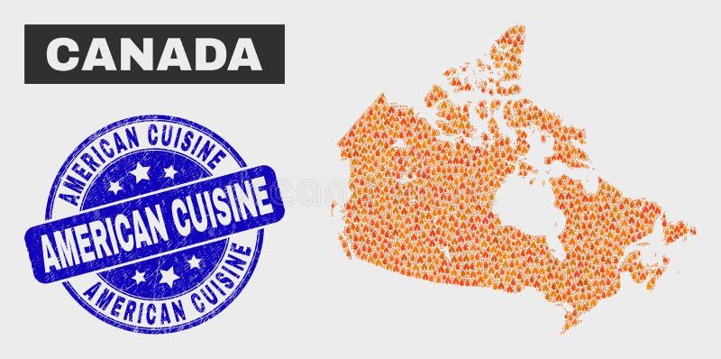 Fire Mosaic Canada Map und Grunge American Cuisine Watermark stock abbildung