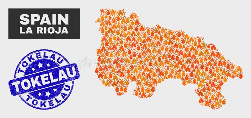 Fire Mosaic La Rioja of Spain Map and Grunge Tokelau Seal stock illustration