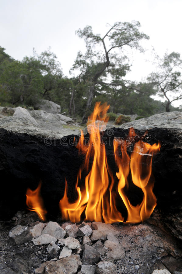 Fire on Mount Chimera stock photography