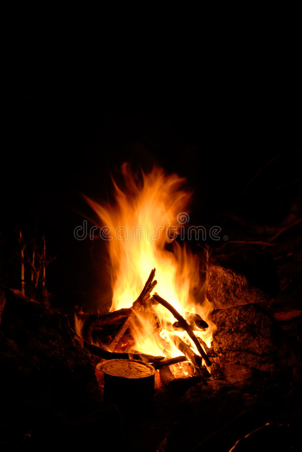 Fire in mountains royalty free stock photography